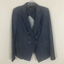 White House Black Market Women's Blazer ~ 10 ~ Blue Denim with Stitching Detail