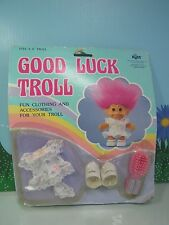BOW PRINT DRESS OUTFIT,  BRUSH & SHOES - Russ Troll Doll - NEW