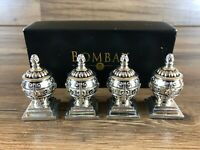 Bombay Company Silver Plated Salt & Pepper Shaker Set in Box