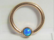 Rose Gold Plated Blue Opal Solitaire Hoop Ring 14 gauge 14g