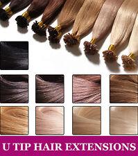 """1G 16"""" 18"""" 20"""" 22"""" 24"""" Pre bonded U Nail Tip Keratin 100% Human Hair Extensions"""