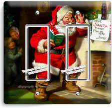 RETRO SANTA CLAUS CHRISTMAS DOUBLE GFCI LIGHT SWITCH WALL PLATE COVER HOME DECOR