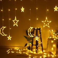 Christmas LED Curtain Window String Fairy Lights Star Moon Decor Party Wedding