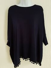 New Ladies Dark Blue Top Size S/M Baggy tassel top Royal with matching tights