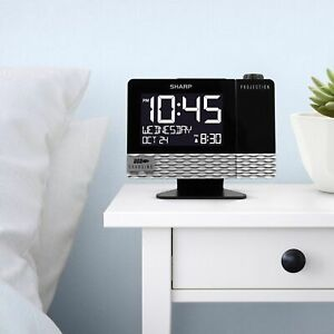 Sharp Projection with USB Charge Table Clock Black-OPEN BOX