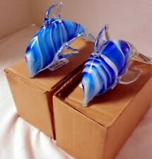 Glass Multi Blue White Swirl Dolphin Figurines (2 Dolphins) Brand new in Box!
