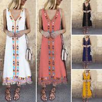 VONDA AU Women Sleeveless Retro Plus Size Loose Long Maxi Dress Summer Sundress