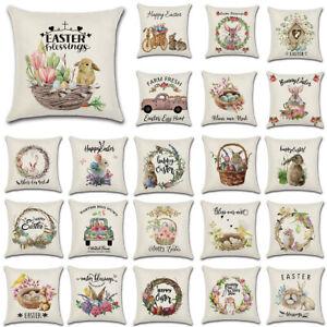 Spring Season's Linen Sofa Throw Cushion Cover Easter Rabbit Eggs Pillow Case