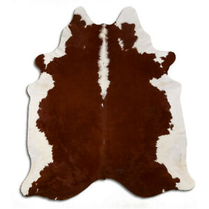 Real Cowhide Rug Hereford Brown-White Size 6 by 7 ft, Top Quality, Large Size
