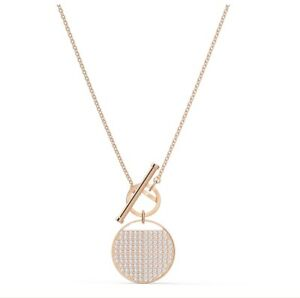 Ginger T Bar necklace White, Rose gold-tone plated