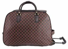 Checked Brown Wheeled Suitcase Holdall weekend luggage travel Cabin Trolley UK L