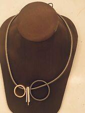 "Geometric Circle Cord Necklace 17-20"" Silver Rose Gold Choker Multi-shape Unique"