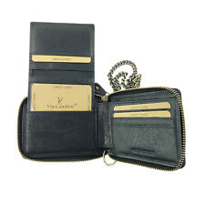 VCR8M Via Condtti Full Grain Leather Wallet with Metal Chain RFID PROTECTED
