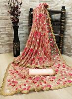 Net Embroidery Work Saree Indian Designer Wedding Bridal Party Wear New Sari VL