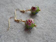 Handmade ~ Earrings ~  Lime Cloisonné 12mm Ball
