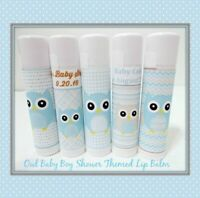 OWL Themed Baby Boy Shower Lip Balm Favors- Set of 50-Free Personalization