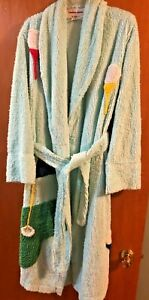 Vintage Canyon Group Wrap Robe By Damze Women's Size Small Chenille Golf theme