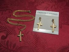 """Cross Necklace 18"""" Cable Chain & Matching Earring Pair"""