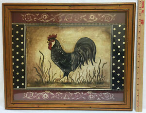 Americana Chicken Rooster Print Framed Picture Distressed 19x23 Wood Frame