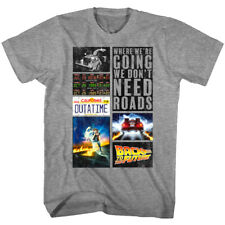 Back to The Future Movie Collage Men's T Shirt DeLorean Time Machine McFly Movie