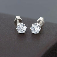 0.90 Ct Round Cut Moissanite 14K White Gold Plated 6-Prong Stud Earrings 4mm