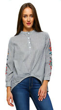 VELEZRA Womens Stripe Embroidery Chic Long Sleeve Oxford Shirt Top Blouse S M L