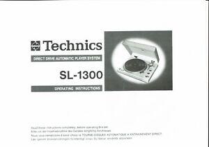 Technics Bedienungsanleitung user manual für SL 1300  Copy