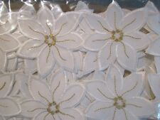 """Christmas Table Linens Runner White with Gold Accents 13"""" X 72"""" Polyester Gift"""