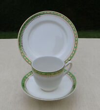 Meakin China Cup, Saucer & Side Plate Trio, Green Band & Gold Decoration MEA77