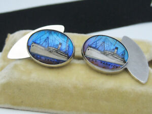 Antique Victorian English Sterling Silver Crystal T.S.S. VANDYCK Ship Cufflinks