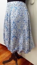 AS NEW Size 10 Loveeba Silk  Lined Blue & White Silk Women's Skirt