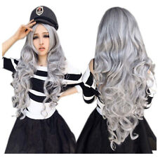 Fashion Women Stone gray Long Curly Wavy Wig L1V9