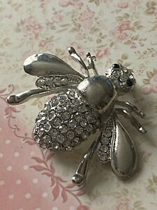 Costume Jewellery Silver Tone Diamante Bee Insect Brooch