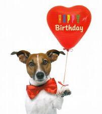quadratische Postkarte: Geburtstagshund - Glatthaarfoxterrier mit Herzluftballon