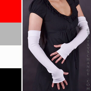 Ladies Long Cotton Fingerless Gloves White Arm Warmers Winter Thumb Holes Warm