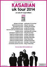 "KASABIAN / MACCABEES ""UK TOUR 2014"" CONCERT POSTER- Indie/Alt./Space Rock Music"