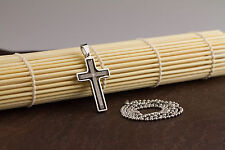 Stainless Steel Cross Pendant Beads Necklace Unisex Silver Black L162