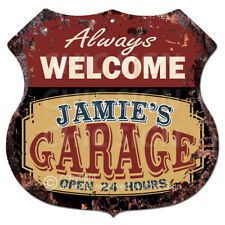 BPMG0233 Welcome JAMIE'S GARAGE Rustic Tin Sign Father's Day Gift Ideas For Man