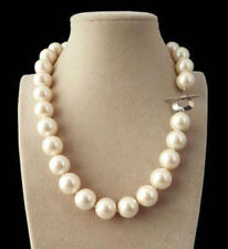Genuine 12mm White South Sea Shell Pearl Round Beads Necklace 18''