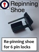 Euro cylinder re-pinning shoe for 6 pin cylinders 1st P&P