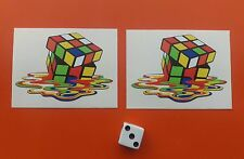 x 2 Melted Rubix Cube stickers 65mm x 45mm JDM skate board retro decals