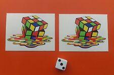 X 2 ADESIVI Cubo di Rubix FUSO 65mm x 45mm Jdm Decalcomanie Retrò Skate Board