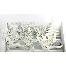 Décoration pour sapin de Noël, lot de 8 figurines blanches pailletées