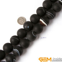 """Black Banded Brazil Agate Gemstone Frost Round Beads For Jewelry Making 15"""""""