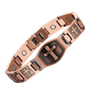Copper Medical Magnets Cross Crucifix Jesus Link Chain Men's Therapy Bracelet