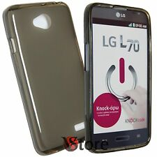Cover for LG L70 D320 L 70 BLACK GREY Retro matt GEL TPU silicone
