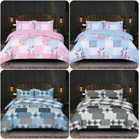 3pcs Rich Cotton Duvet Cover Quilt Bedding Set +Pillow Cases Single Double King