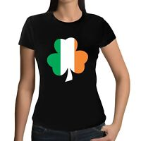 St Patricks Day Ladies SHAMROCK Printed T-Shirt Irish Paddys Ireland Tee Top