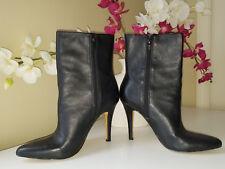 INC International Concepts Deandra Black Leather Boots Stiletto Heel Sz. 7,5M