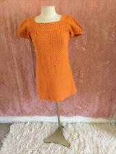 Vintage 1970's Orange  Crocheted Mini Dress California Hippy Junior Size 7/8.